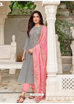 Grey Readymade Designer Festive Wear Heavy Rayon Salwar Suit
