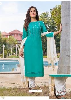 Aqua Mint Readymade Designer Festive Wear Heavy Rayon Salwar Suit