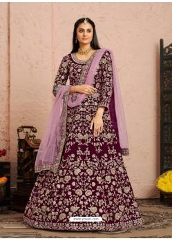 Deep Wine Designer Wedding Wear Velvet Anarkali Suit