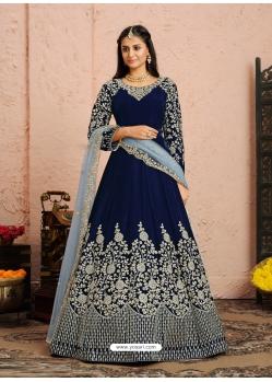Navy Blue Designer Wedding Wear Velvet Anarkali Suit