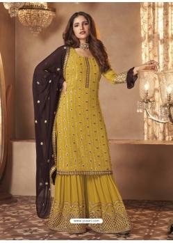 Yellow Designer Festive Wear Real Georgette Sharara Suit