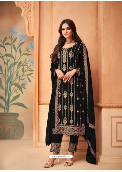 Black Designer Festive Wear Faux Georgette Palazzo Suit