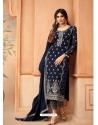 Navy Blue Designer Festive Wear Faux Georgette Palazzo Suit