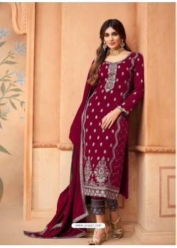 Rose Red Designer Festive Wear Faux Georgette Palazzo Suit