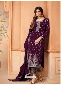 Purple Designer Festive Wear Faux Georgette Palazzo Suit