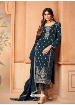 Teal Blue Designer Festive Wear Faux Georgette Palazzo Suit