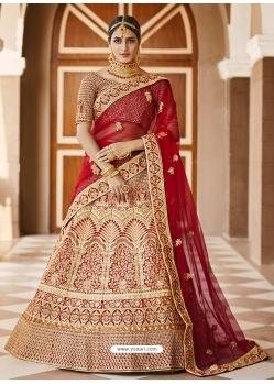 Cream Heavy Designer Bridal Wedding Wear Velvet Lehenga Choli