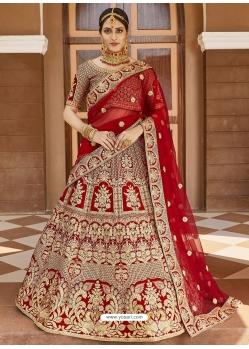 Red Heavy Designer Bridal Wedding Wear Velvet Lehenga Choli