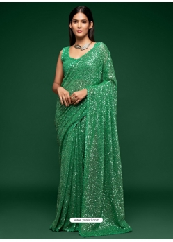 Sea Green Designer Party Wear Georgette Sari