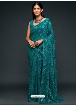 Teal Blue Designer Party Wear Georgette Sari