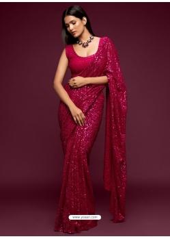 Rose Red Designer Party Wear Georgette Sari