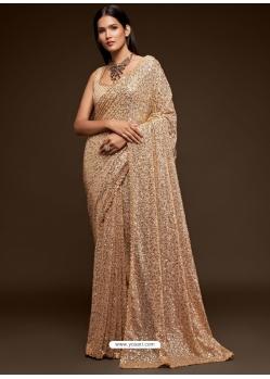 Gold Designer Party Wear Georgette Sari