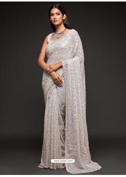 White Designer Party Wear Georgette Sari