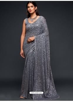 Grey Designer Party Wear Georgette Sari
