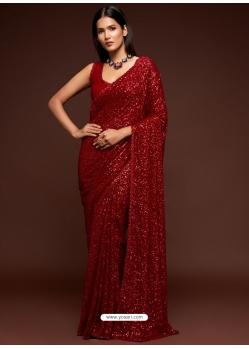 Maroon Designer Party Wear Georgette Sari