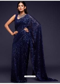 Navy Blue Designer Party Wear Georgette Sari