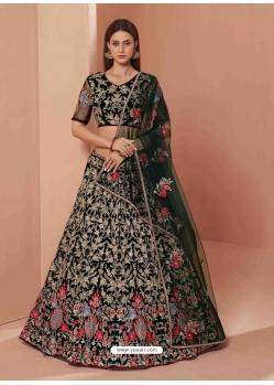 Black Heavy Designer Bridal Wedding Wear Net Lehenga Choli