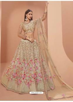 Gold Heavy Designer Bridal Wedding Wear Net Lehenga Choli
