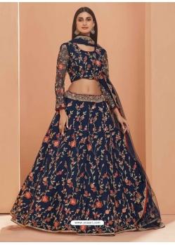 Navy Blue Heavy Designer Bridal Wedding Wear Net Lehenga Choli