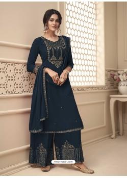 Navy Blue Designer Festive Wear Premium Georgette Palazzo Suit