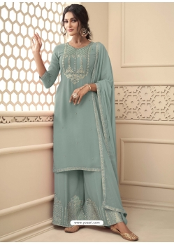 Grayish Green Designer Festive Wear Premium Georgette Palazzo Suit