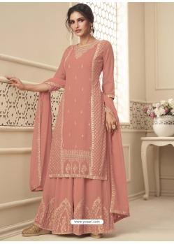 Peach Designer Festive Wear Premium Georgette Palazzo Suit