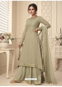 Olive Green Designer Festive Wear Premium Georgette Palazzo Suit