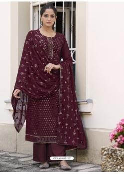 Maroon Latest Designer Real Georgette Salwar Suit