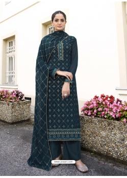 Dark Grey Latest Designer Real Georgette Salwar Suit