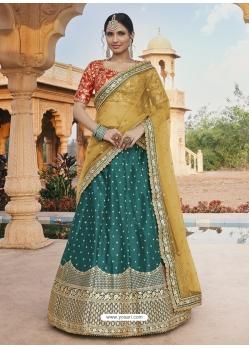 Teal Heavy Designer Wedding Wear Lehenga Choli
