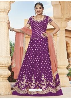 Purple Heavy Designer Wedding Wear Lehenga Choli