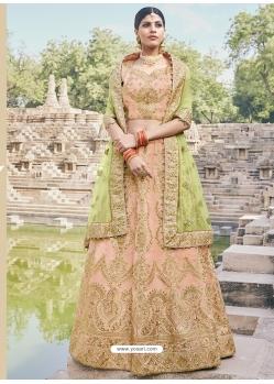 Light Orange Heavy Designer Wedding Wear Lehenga Choli