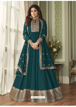 Teal Readymade Designer Wedding Wear Real Georgette Anarkali Suit