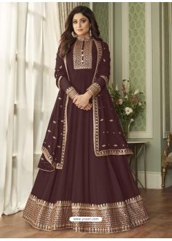 Coffee Readymade Designer Wedding Wear Real Georgette Anarkali Suit
