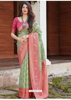 Green Designer Party Wear Silk Sari