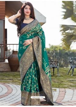 Aqua Mint Designer Party Wear Silk Sari
