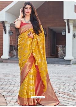 Yellow Designer Party Wear Silk Sari