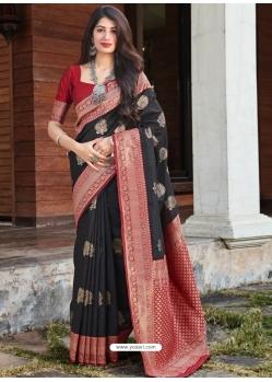 Black Designer Party Wear Silk Sari