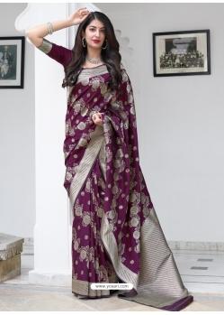 Purple Designer Party Wear Silk Sari