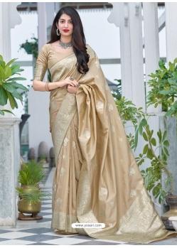 Gold Designer Party Wear Silk Sari