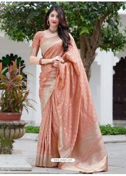 Light Orange Designer Party Wear Silk Sari