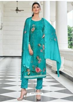 Turquoise Digital Printed Designer Pure Viscose Muslin Salwar Suit
