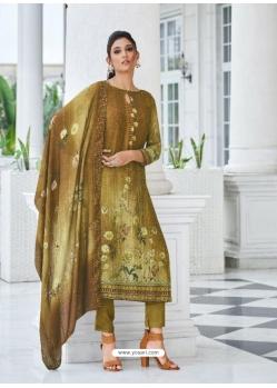 Mehendi Digital Printed Designer Pure Viscose Muslin Salwar Suit