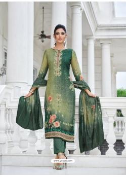 Dark Green Digital Printed Designer Pure Viscose Muslin Salwar Suit