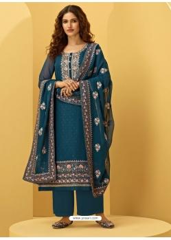 Teal Blue Heavy Designer Bridal Alizeh Georgette Salwar Suit