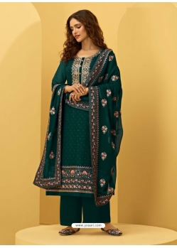 Dark Green Heavy Designer Bridal Alizeh Georgette Salwar Suit