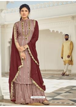 Light Brown Heavy Designer Wedding Faux Georgette Salwar Suit