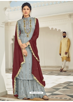 Silver Heavy Designer Wedding Faux Georgette Salwar Suit