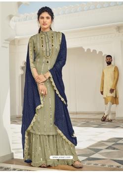 Olive Green Heavy Designer Wedding Faux Georgette Salwar Suit