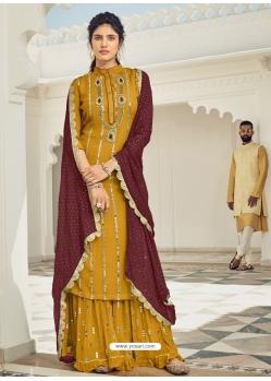 Mustard Heavy Designer Wedding Faux Georgette Salwar Suit